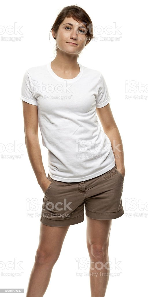 Standing Young Woman Three Quarter Length Portrait stock photo