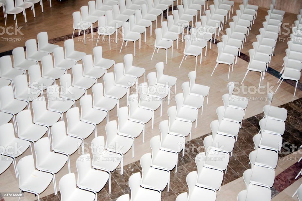 Stands, empty rows of seats ready for the show. stock photo