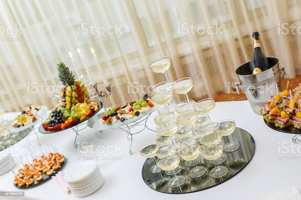stand-up party, Champagne Pyramid stock photo