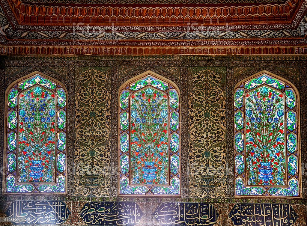 Staned glass windows in Harem of Topkapi Palace, Istanbul. stock photo