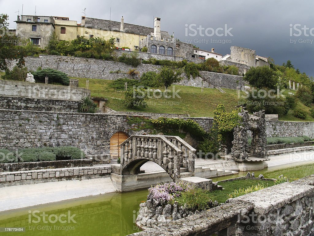 Stanjel, Garden by the Villa Ferrari royalty-free stock photo