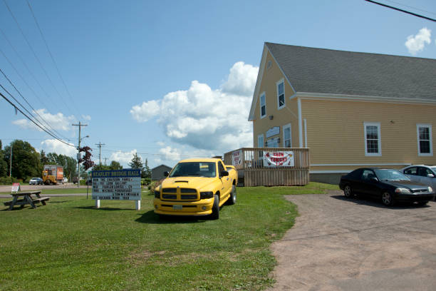 Stanley Bridge Hall Stanley Bridge, PEI - July 26, 2019: Exterior of the busy community centre in the PEI area of Stanley Bridge on a summer day in July prince musician stock pictures, royalty-free photos & images