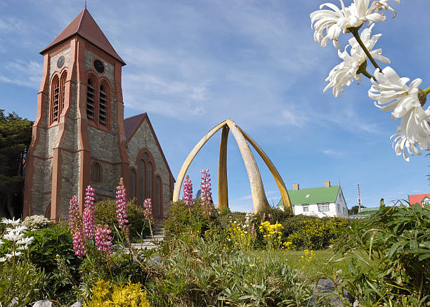 stanley cathedral - port stanley falkland islands stockfoto's en -beelden