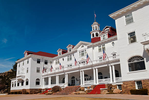 Stanley Hotel in Estes Park, Colorado from the side stock photo
