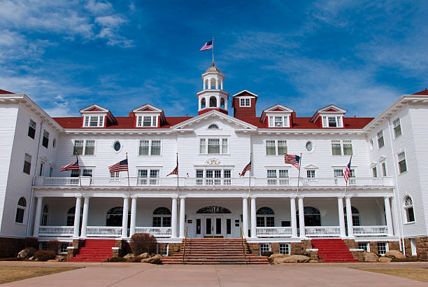 Stanley Hotel with blue sky in Estes Park, Colorado stock photo