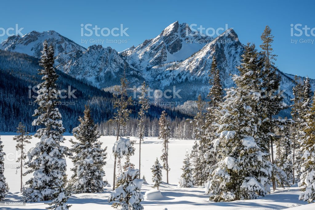 Stanley Lake in winter with snow covered trees stock photo
