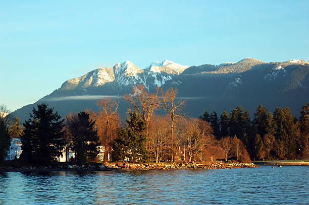 stanley park and grouse mountain stock photo