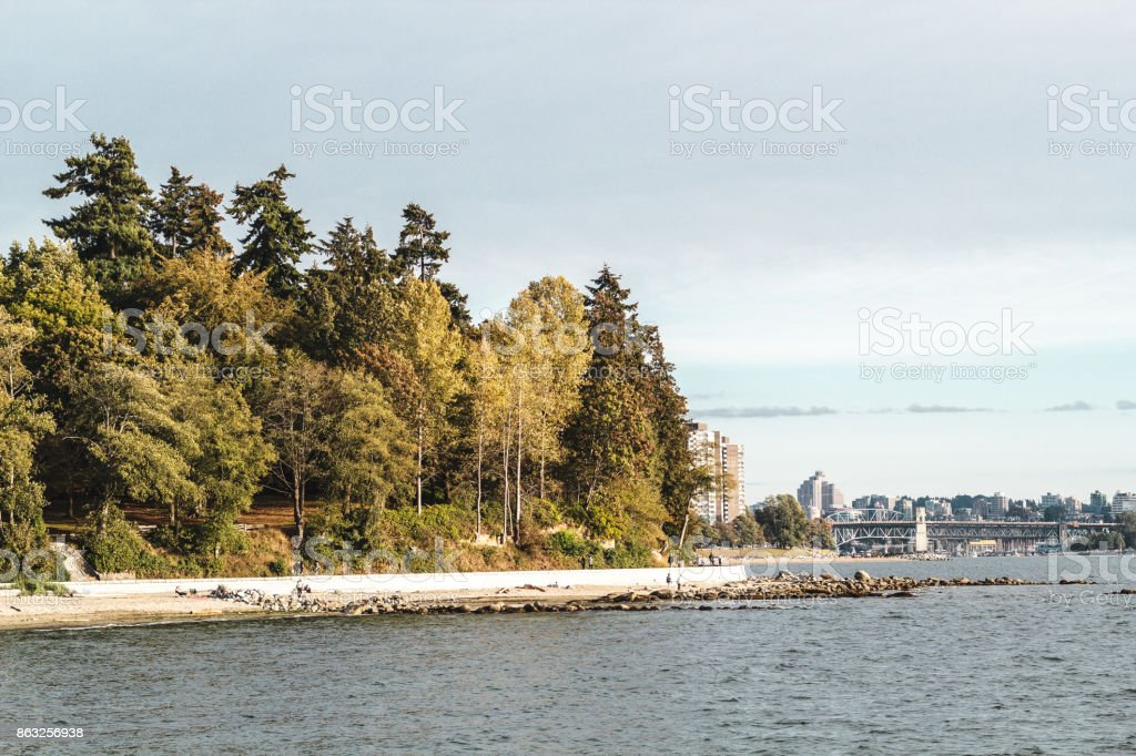 Stanley Park and Seawall in Vancouver, BC, Canada stock photo