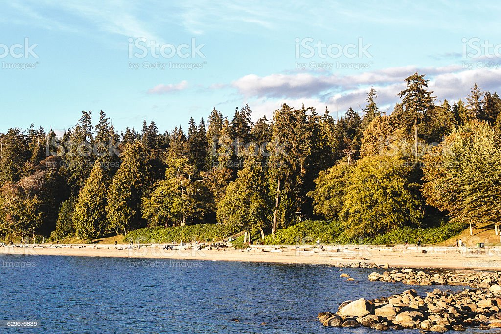 Stanley Park and the sea in Vancouver, Canada stock photo