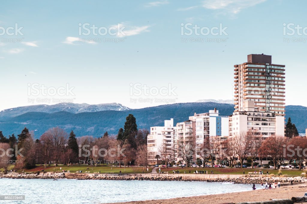 Stanley Park near English Bay in Vancouver BC, Canada stock photo