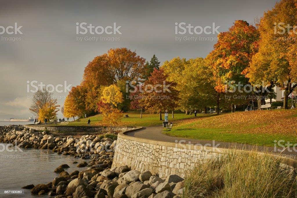 Stanley Park Seawall Autumn stock photo