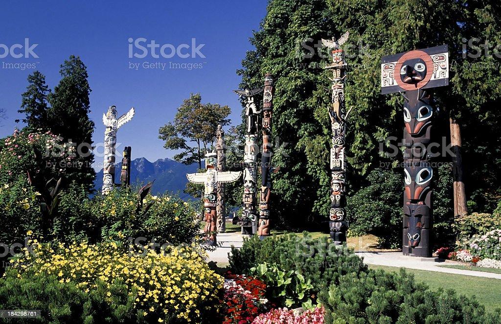 stanley park totem pole vancouver royalty-free stock photo