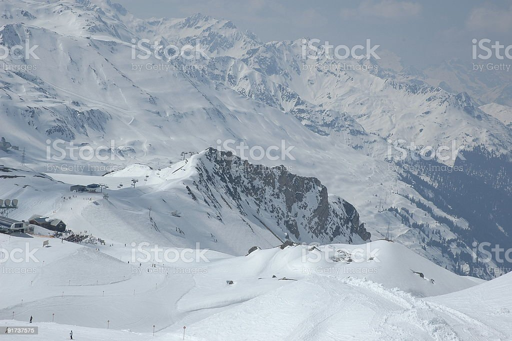 St.Anton Skiing Aerea in Winter royalty-free stock photo