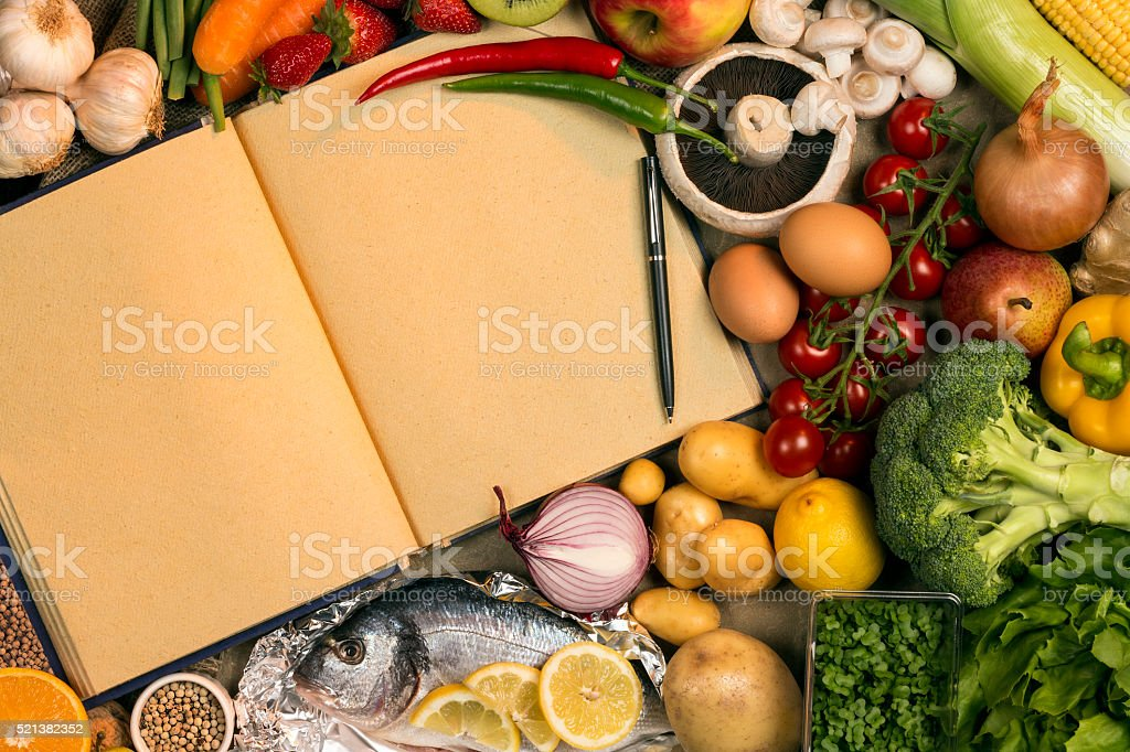 Staple Foods - Recipe Book - Space for Text stock photo