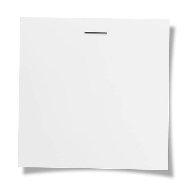 Stapled note Blank note. stapler stock pictures, royalty-free photos & images