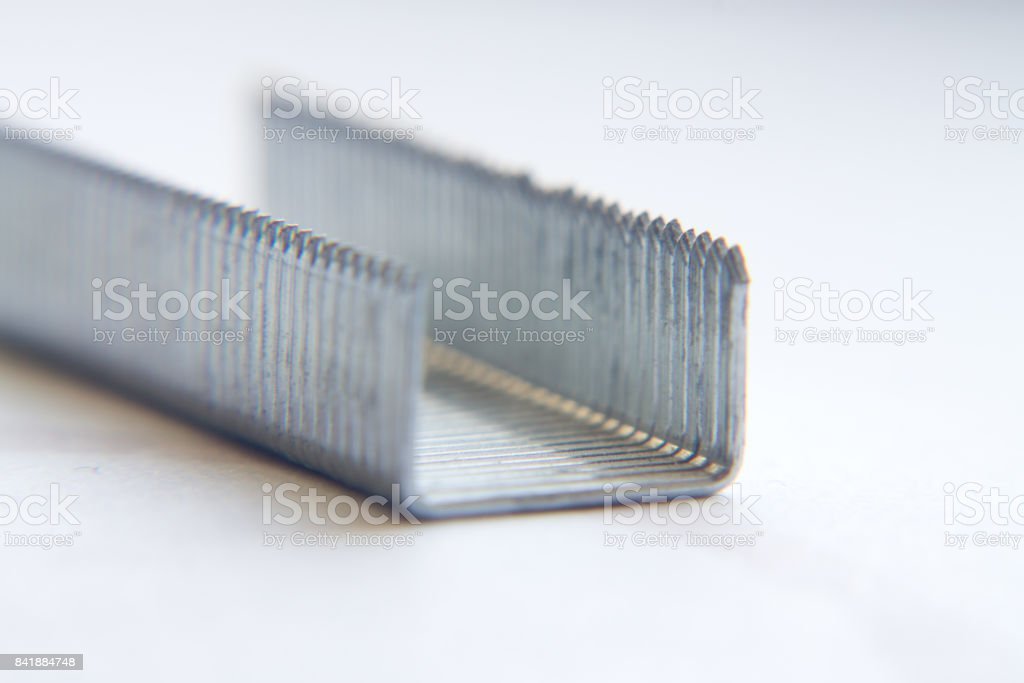 Staples For A Stapler On A White Background Closeup Macro Stock ...