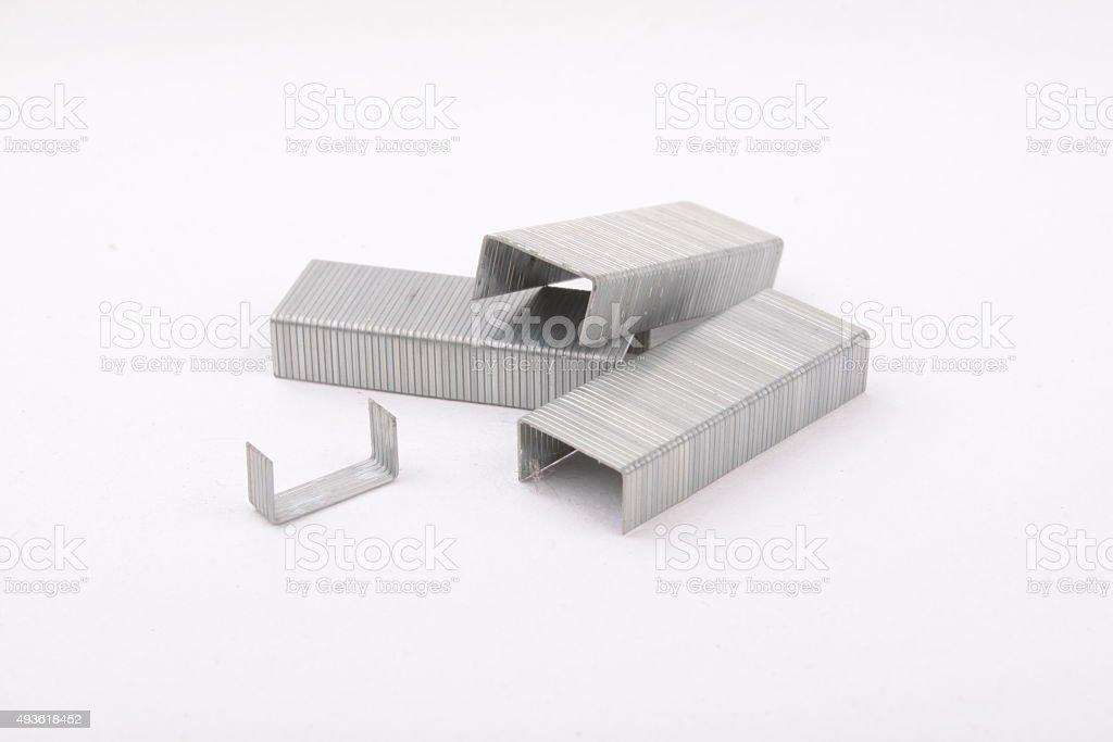 staples on white background stock photo