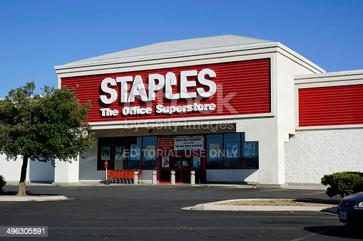Ridgecrest, California, USA - May 25, 2014: The Staples store in Ridgecrest. Framingham, Massachusetts based Staples is an office supply chain with over 2000 locations worldwide.