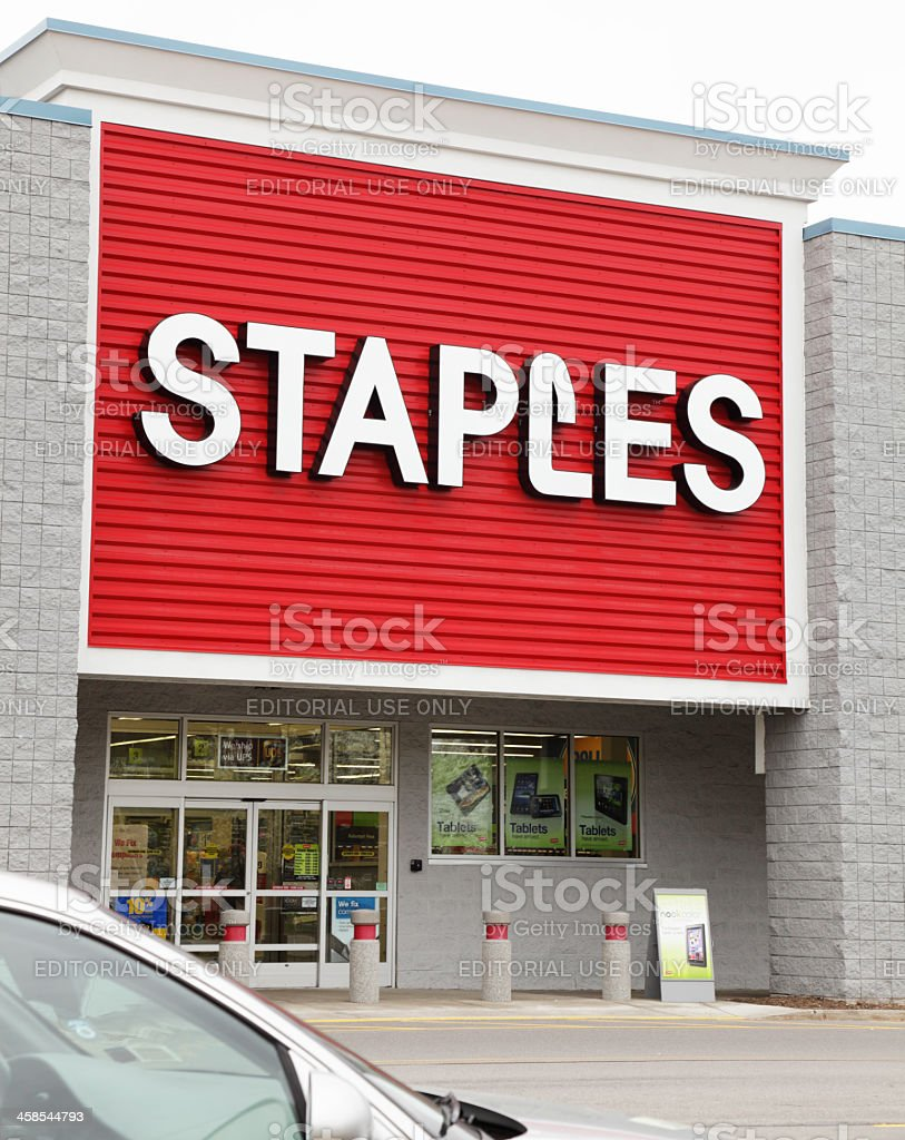 Staples Retail Store Logo Sign - Vertical stock photo