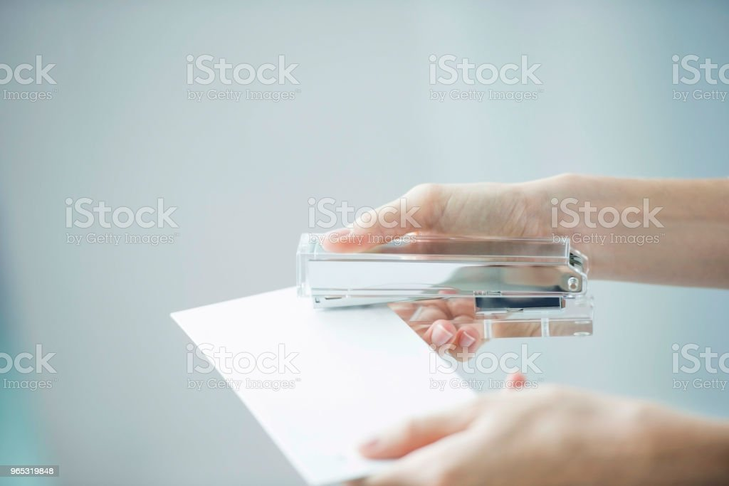 Stapling document royalty-free stock photo