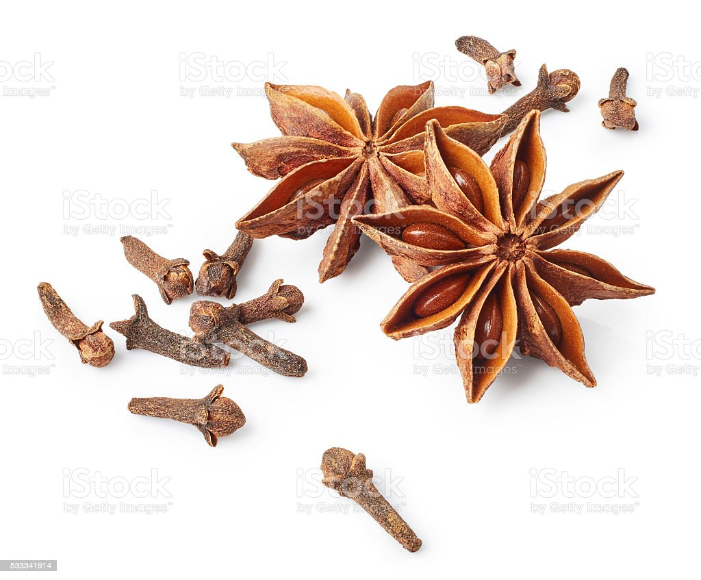Star anise and cloves stock photo