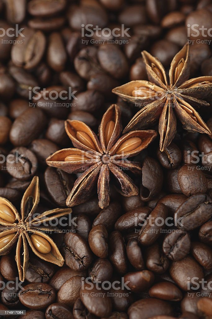 Star anise and coffee beans royalty-free stock photo