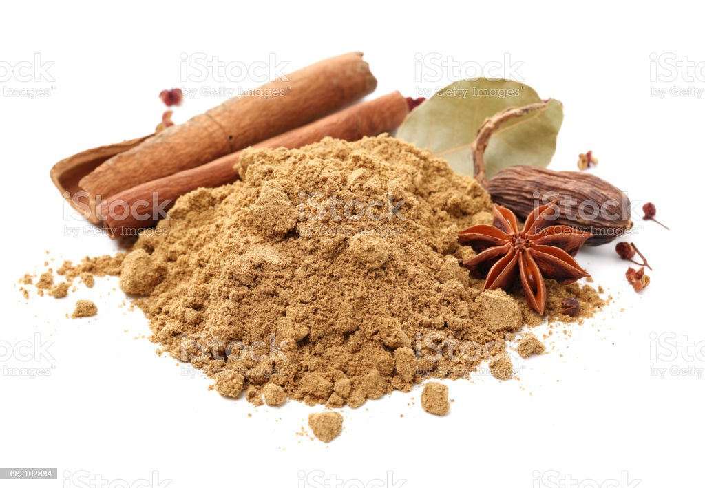 Star anise, cinnamon sticks, black cardamom pods  isolated on white Background stock photo