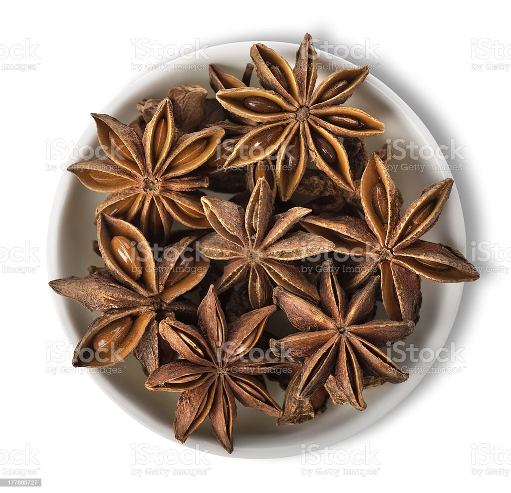 Star anise in plate isolated royalty-free stock photo
