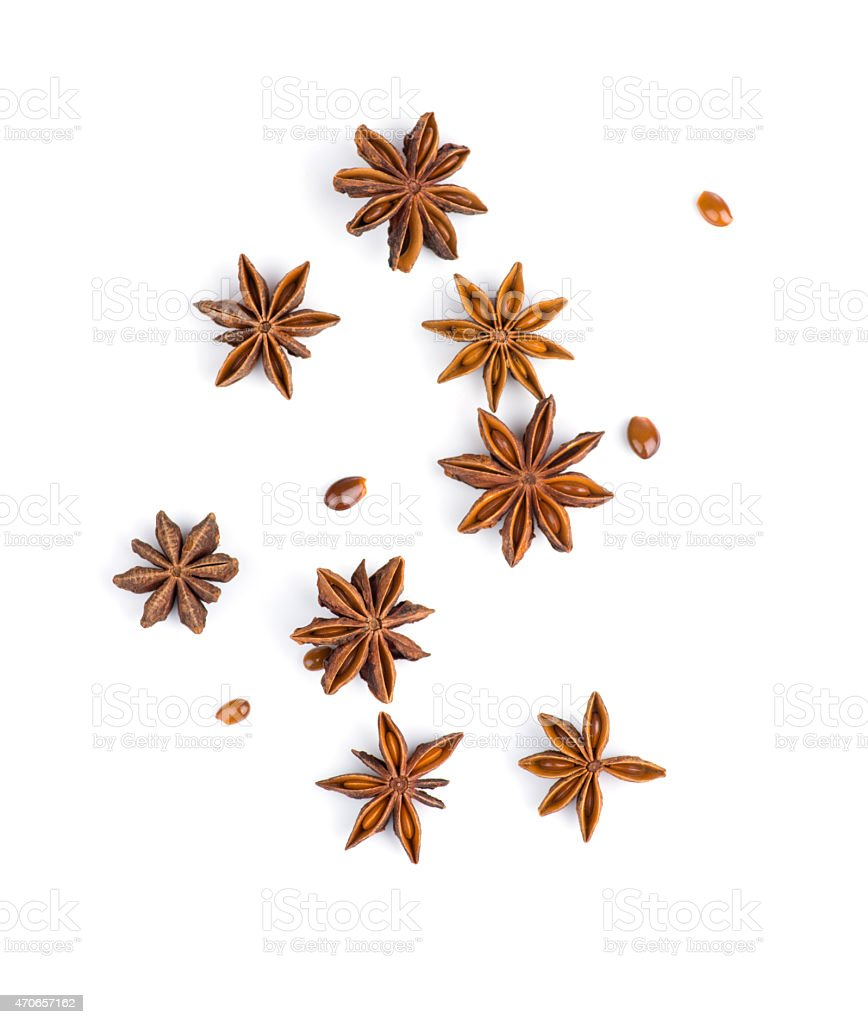 Star anise on white background stock photo