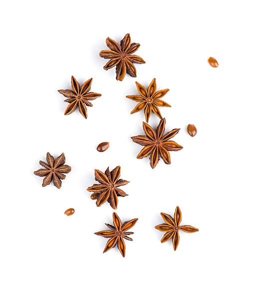 Star anise on white background Photo of star anise on white background star anise on white stock pictures, royalty-free photos & images