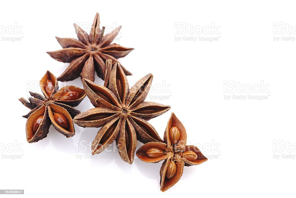 Star anise on white royalty-free stock photo