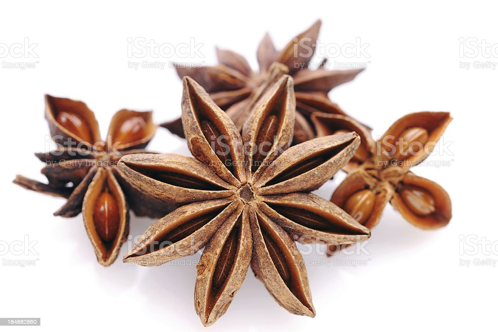 Star anise on white stock photo