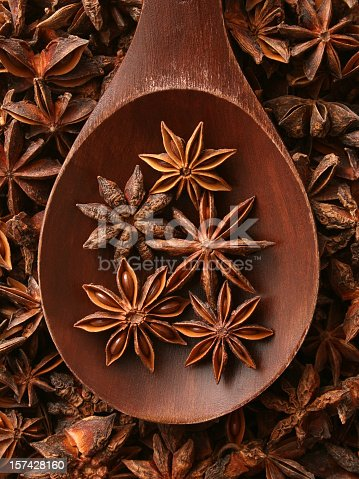 Top view of wooden spoon full of star anise