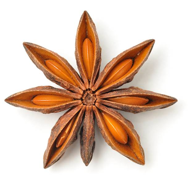Star anise pod Star anise pod isolated on a white background. star anise on white stock pictures, royalty-free photos & images
