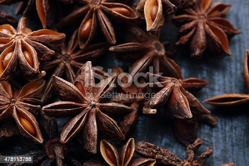 Star anise seeds on the wooden background