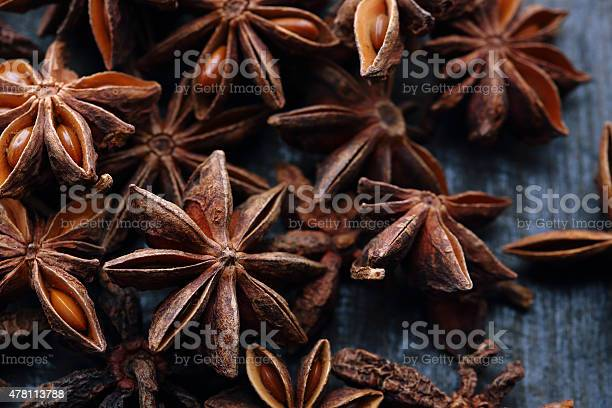 Star Anise Seeds On The Wooden Background Stock Photo - Download Image Now