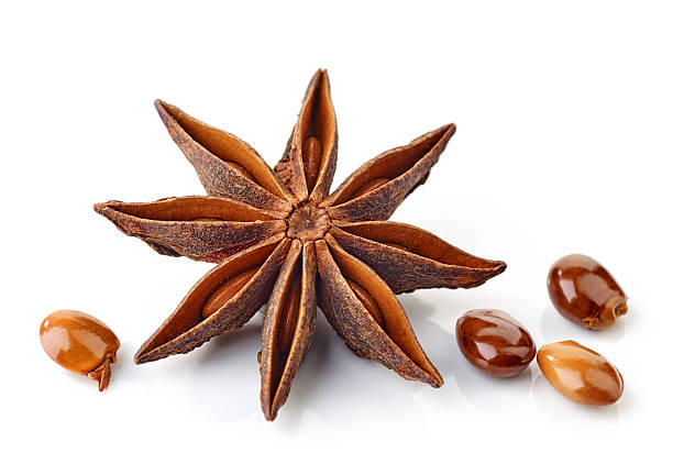 Star anise spice and seeds stock photo