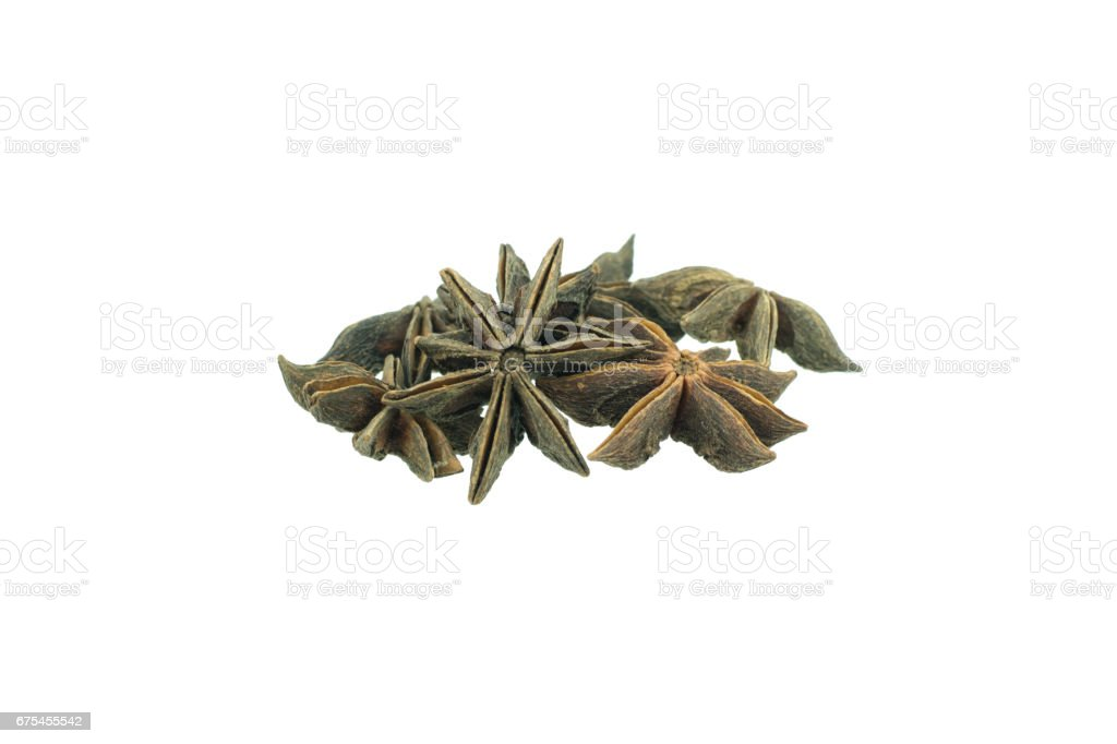 Star anise spice fruits and seeds isolated on white background closeup photo libre de droits