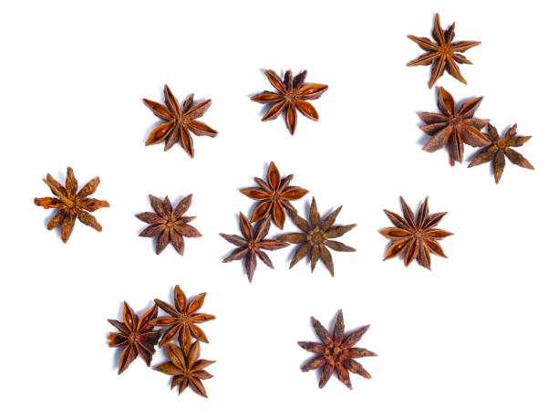 Star anise (dried Ilicium fruit), top view, paths stock photo