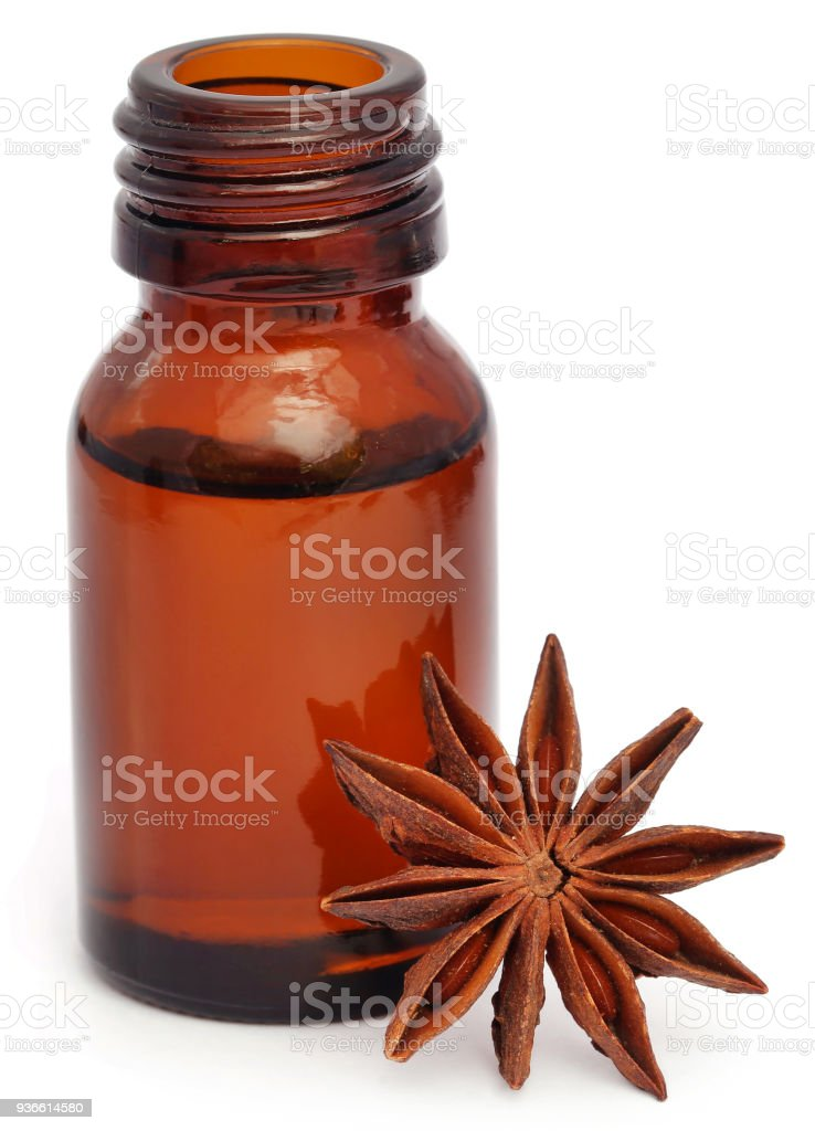 star anise with essential oil stock photo