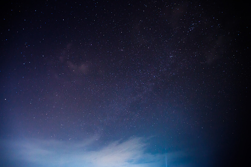 A star at nigh sky with cloudy location at north of Thailand
