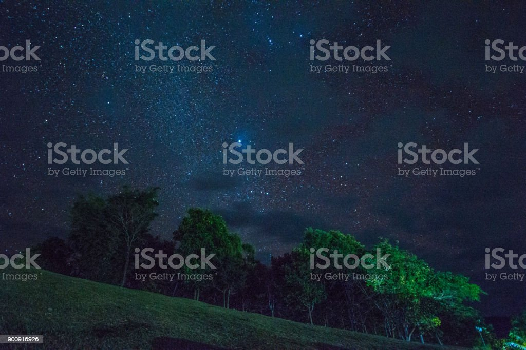 star at night  above the tree , Doi Samer-Dao in Si Nan National Park,  Nan province in Thaoand ,High Iso. stock photo
