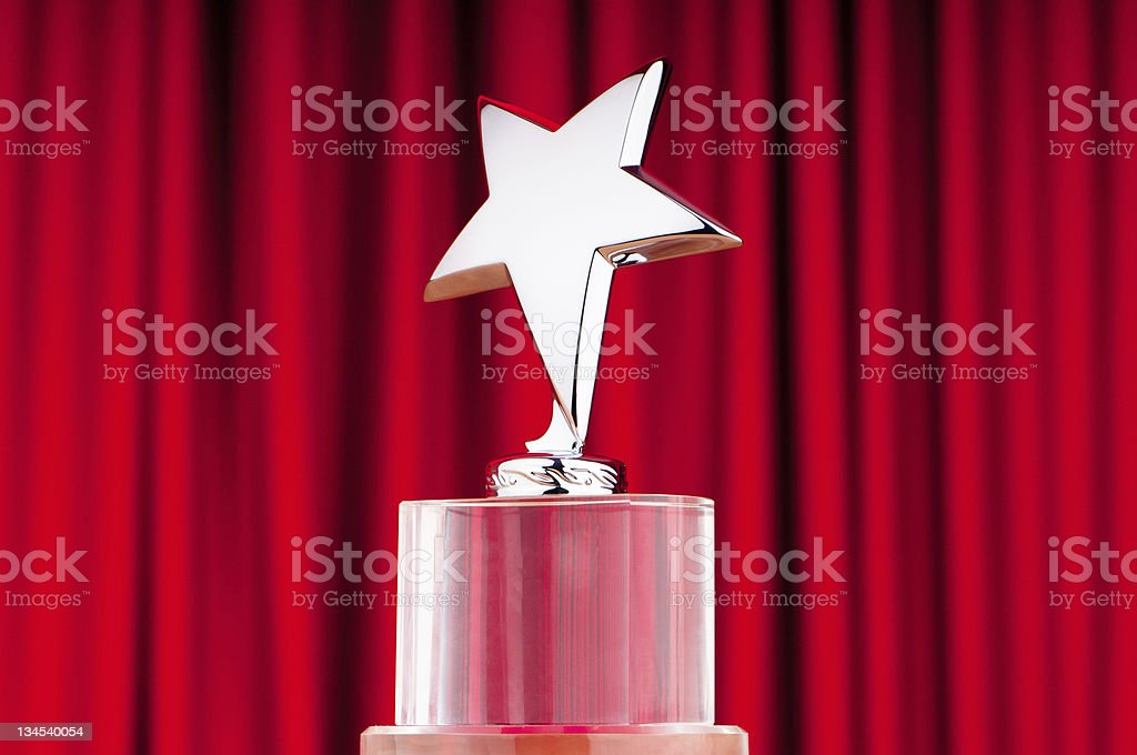 Star award against curtain background royalty-free stock photo