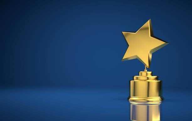 Star award blue background Star award against gradient background trophy award stock pictures, royalty-free photos & images
