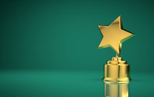 Star award green background Star award against gradient background trophy award stock pictures, royalty-free photos & images