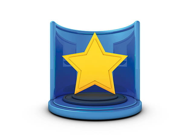 Star Award 3D Rendering of a fictional award with a star shape.Related images: blue 3d business NOT map NOT background stock pictures, royalty-free photos & images