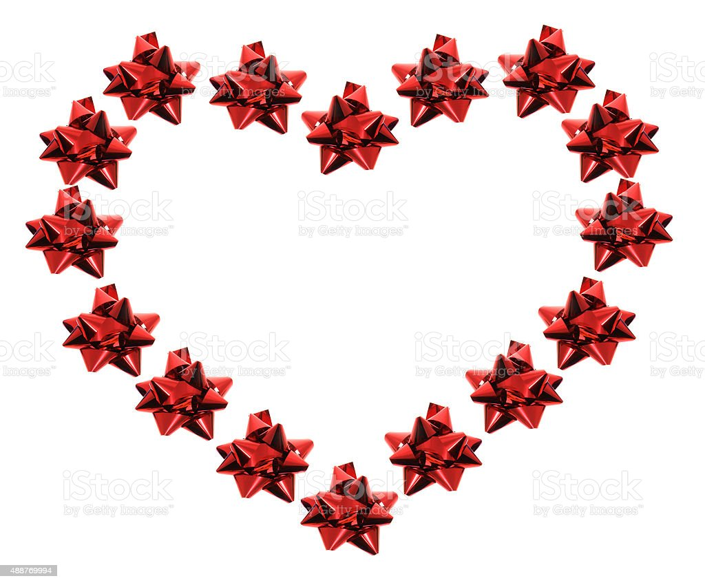 Star Bows  in Heart Shape stock photo
