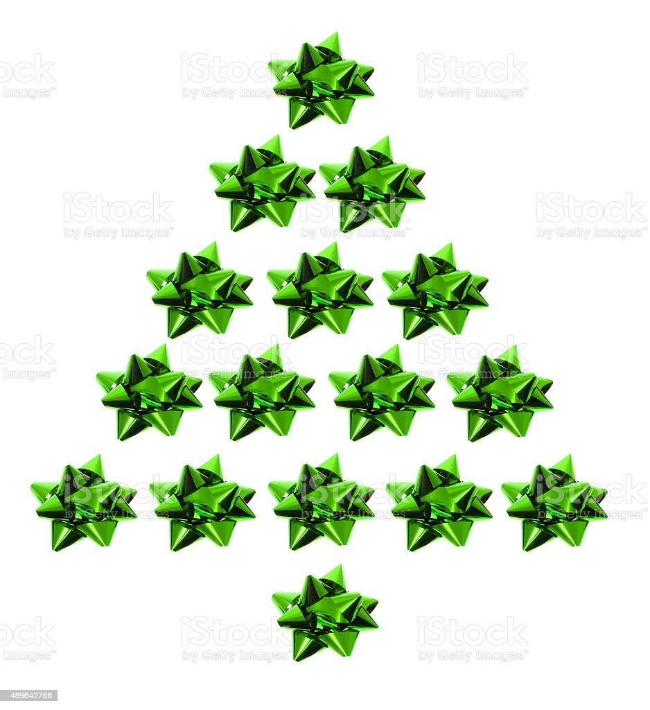 Star Bows in Xmas tree Shape stock photo