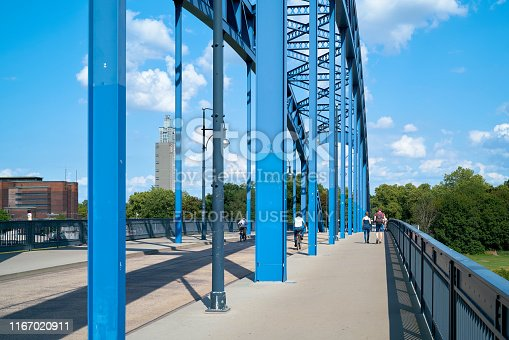 Magdeburg, Germany – July 21, 2019: Star bridge over the river Elbe in Magdeburg. The star bridge connects the old town with the island Rotehorn.