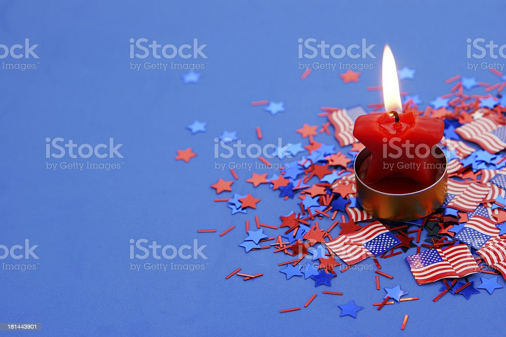 Star Candle with US confetti and copy space stock photo